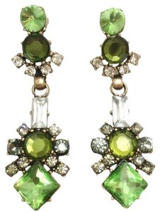 J.Crew NEW J.CREW Green Crystal & Rhinestones Long Drop Earrings.