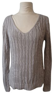 Adrienne Vittadini Cable Knit Silver Longsleeve Sweater