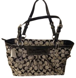Coach Signature Fabric Tote in Brown Black