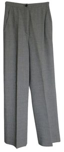 Emanuel Ungaro Trousers 100% Virgin Wool Flare Pants Black/Gray