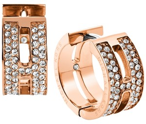 Michael Kors MICHAEL KORS Glitz and Rose Goldtone Huggie Hoop Earrings (come with dust bag & box)