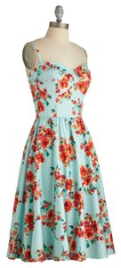 Floral/Aqua Maxi Dress by Modcloth