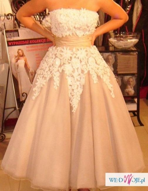 Item - Ivory Taupe Tulle and Satin 8465 Vintage Wedding Dress Size 2 (XS)
