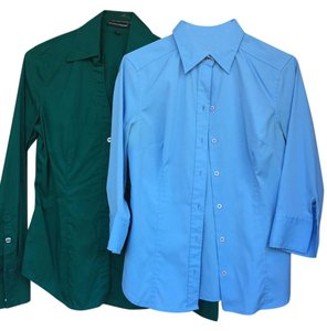 Express Button Down Shirt Green and Blue