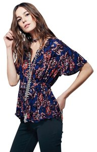 Free People Top Indigo Combo