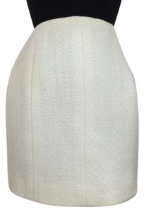 Chanel Cream Boucle Tweed Mini Skirt cream, white