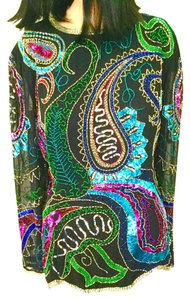 Niteline Formal Coctail Designer Beaded Sequins & Beads Bling Top Black, Turquoise, Shocking Pink, Red, Gold, Silver, Blue, Green