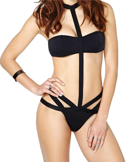 Nasty Gal One Piece Bandeau Bikini Strappy Cutout Caged Monokini Swimsuit
