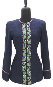 Chanel Navy Collarless Boucle navy, green, purple, red, peach Jacket