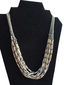 Chico's Chico's Multi-Strand Silver Beaded Necklace
