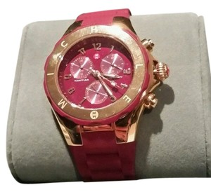 Michele MICHELE TAHITIAN JELLY BEAN MERLOT AND ROSE GOLD TONE CHRONOGRAPH WATCH NEW IN MICHELE BOX