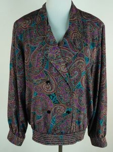 Alfred Dunner Double Breasted Top Multi-Color