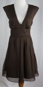 J.Crew short dress Brown Abigail Silk Chiffon Pockets Espresso on Tradesy
