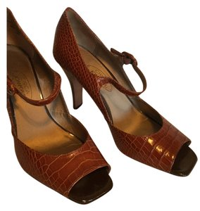 Joan & David Leather Mary Jane Pump Brown Pumps