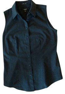 Ann Taylor Buttons Sleeveless Button Down Shirt Black