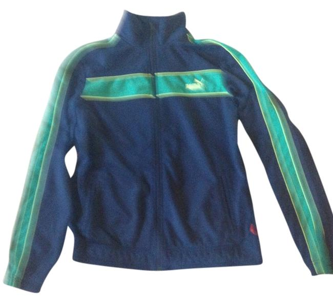 Item - Navy with Green Accents Zipper Activewear Outerwear Size 12 (L, 32, 33)