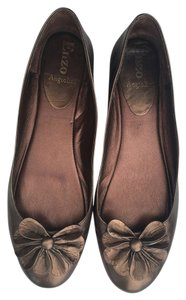 Enzo Angiolini Dark Leather Bronze Flats
