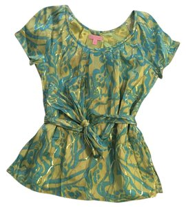 Lilly Pulitzer Top Turquoise and Lime Gree