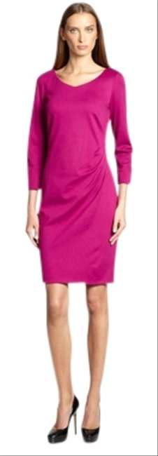 Item - Pink Jersey Ruched Knee Length Work/Office Dress Size 12 (L)