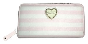 Betsey Johnson zip around blush/bone stripe wallet
