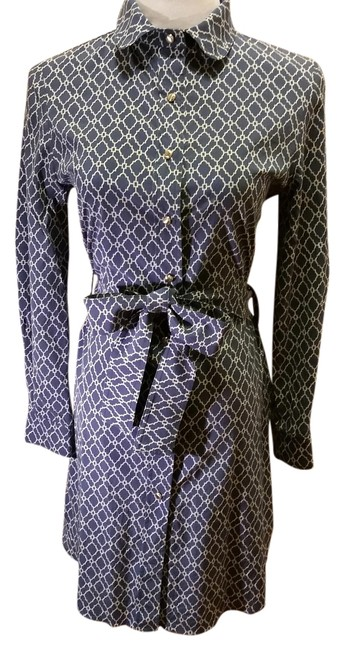 Item - Blue and White Gold Buttons Silk Tie Knee Length Night Out Dress Size 8 (M)