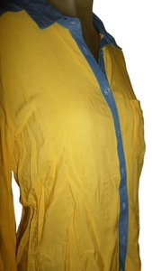 Velvet Heart Faded Indigo Denim Casual Top Yellow, Blue, Light Blue