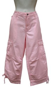 Boston Proper Cropped Cargo Summer Capris Pink