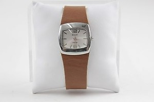 Relic Relic 5.5-7 Silvertone Brown Leather Wristwatch Bj16