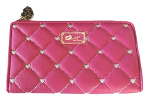 Betsey Johnson Luv Betsey pink/bone stitched hearts zip around wallet