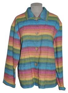 Coldwater Creek Rainbow Striped Southwest Santa Fe Casual Jacket