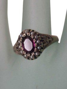 Other Victorian Enameled 12K Gold Genuine Amethyst & Genuine Seed Pearls Ring, late 1800s