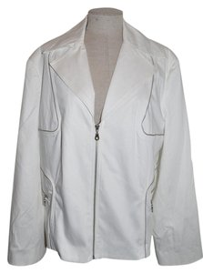 Lane Bryant Zipper Trim Moto Edgy Indie White Jacket