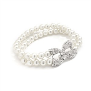 Chic Two Strands Pearls & Crystal Pave Clasp Bridal Bracelet