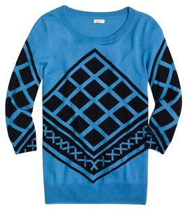 J.Crew Charley Tile Print Blue Black Merino Wool Sweater