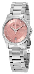 Gucci Pink Diamond Print Dial Silver tone Stainless steel Designer Ladies Dress Watch
