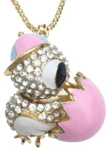 Betsey Johnson Betsey Johnson Chick in Egg Necklace Gold Tone Long J2387