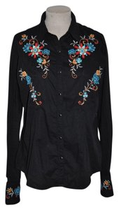 Panhandle Slim Embroidered Western Cowboy Rodeo Prairie Top Black
