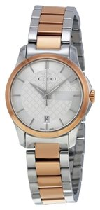 Gucci Diamond Print Silver Dial Rose Gold and Silver Stainless Steel Designer Ladies Dress Watch