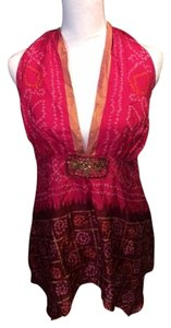 Hale Bob Silk Top Hot pink/fushia/gold/multi