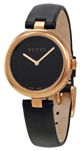 Gucci Rose Gold Stainless Steel with Leather Strap Ladies Designer Dress Watch