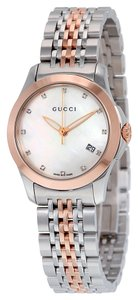 Gucci Mother of Pearl with Diamond Markers Silver and Rose Gold Designer Ladies Dress Watch