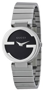 Gucci Black Dial GG Logo Bezel Silver tone Stainless Steel Designer Ladies Casual Watch