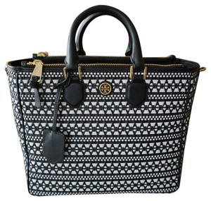 Tory Burch Leather Woven Tote in Black and White