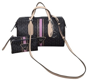 Guess + Wristlet Satchel in Natural Multi ( Brown with Pink)