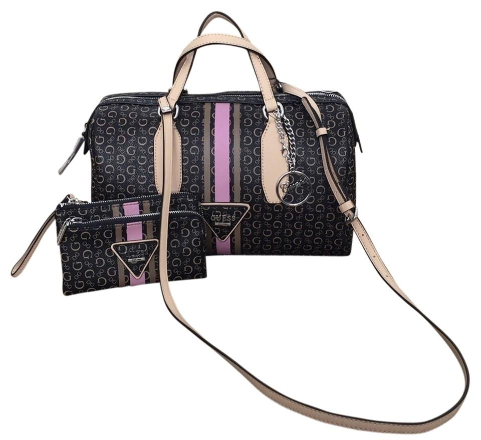b5c64539db Guess Beaumont Handbag and Wristlet Sv637407 Natural Multi ( Brown with  Pink) Pvc Satchel