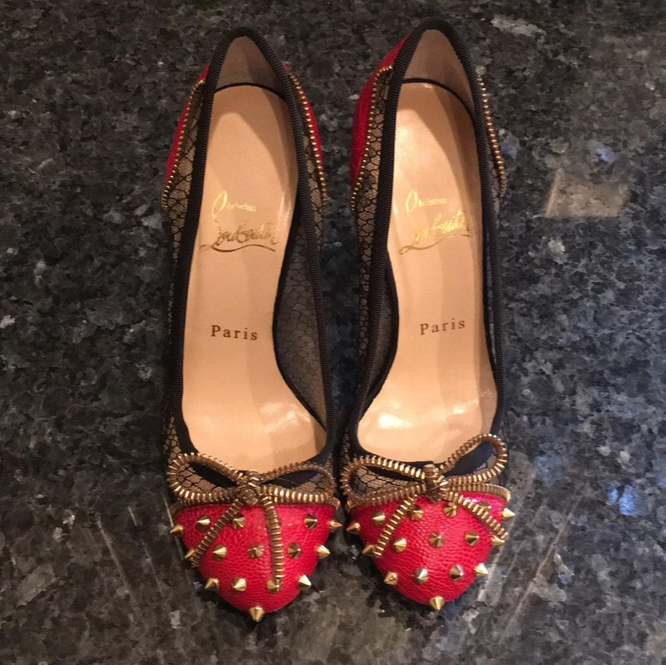 Christian Louboutin Red and Black Black and Pumps fcdb26