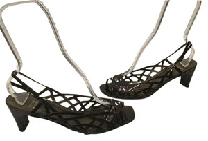 Stuart Weitzman All Leather Caged Style Slingback Made Spain Tortoiseshell patent Sandals