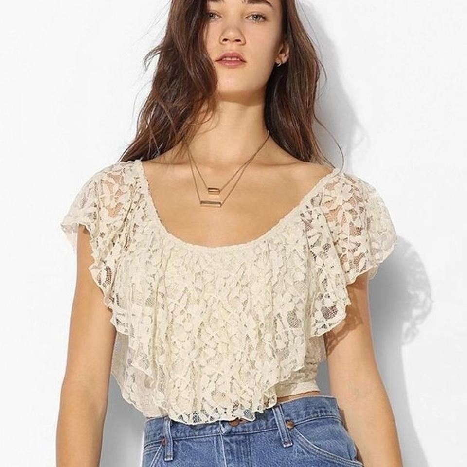 cd7c3c5c62a6a8 Urban Outfitters Ivory Kimchi Blue Ruffles Lace Blouse Size 2 (XS ...