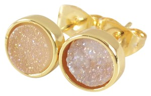 Other New Druzy Agate Gemstone Earrings Small Studs Peach Gold Tone J2391