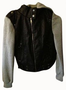 Full Tilt Black with grey arms and hood Leather Jacket